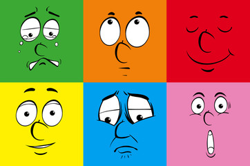 Different emotions on colorful background