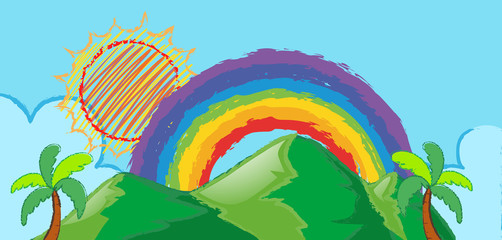 Doodle scene with rainbow over the mountain