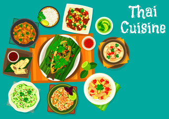 Thai cuisine lunch icon for restaurant menu design