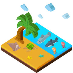 3D design for beach scene with lots of animals