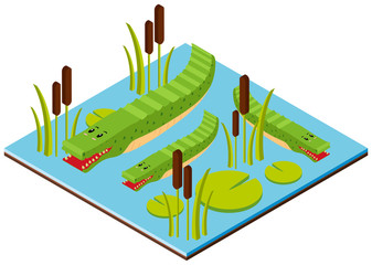 3D design for crocodile in the pond