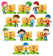 Children and numbers on wooden board