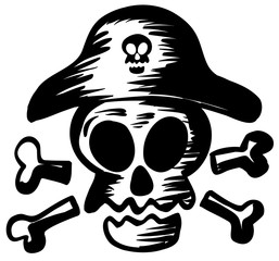 Pirate symbol with skull wearing hat