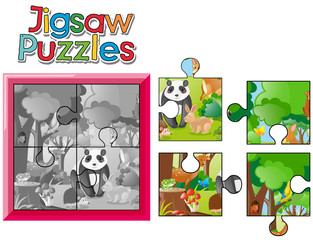 Jigsaw puzzle game with wild animals