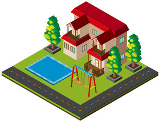 3D design for single house with pool