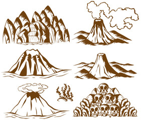 Mountains and volcano on white background