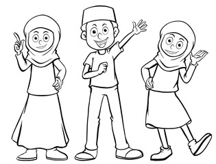 Three muslim characters with happy face