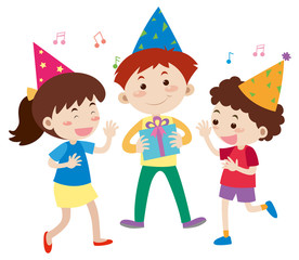 Three happy kids at birthday party