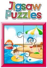 Jigsaw puzzle game with kids on the beach