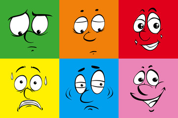 Different facial emotions on color background