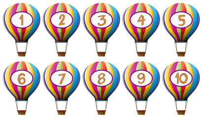 Number one to ten on colorful balloons