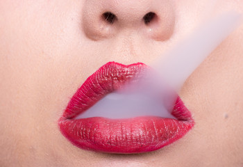 woman lips, red lipstick, smoke coming out of mouth