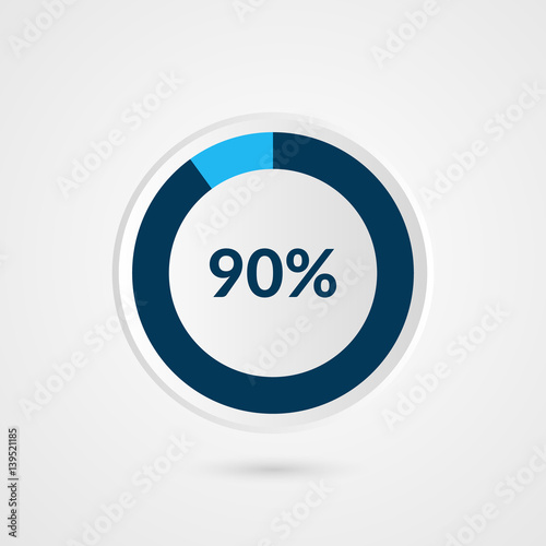 90 percent blue grey and white pie chart percentage vector 90 percent blue grey and white pie chart percentage vector infographics circle diagram business ccuart Choice Image