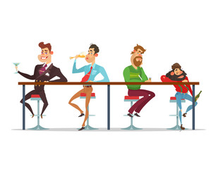 Vector cartoon men sitting at the bar table at various stages of drunkenness