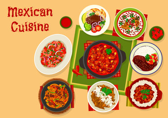 Mexican cuisine traditional lunch icon design