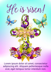 Easter flower cross with egg greeting card design