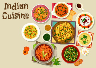 Indian cuisine dinner menu icon for food design