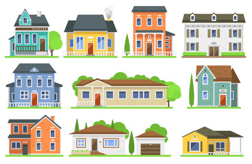 Houses front view vector illustration