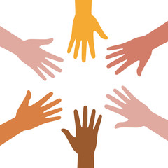 A set of hands symbolizing a team or teamwork flat color icon for business apps and websites