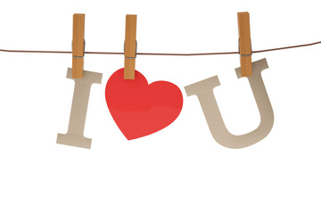 I love you hanging on a rope with clothespins. 3D illustration.