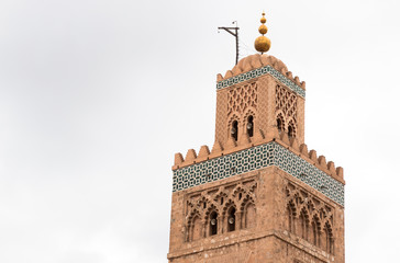 Koutoubia minaret made from golden bricks in centrum of media, Marrakesh, Morocco
