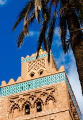 Koutoubia minaret made from golden bricks in centrum of media, Marrakesh, Morocco
