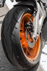 NIZHNY NOVGOROD, RUSSIA - JULY 14, 2013: Highway-ring motorcycle races. Wheel sports bike