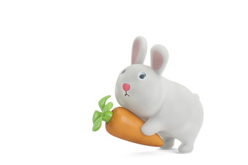 A rabbit with carrot,3D illustration.