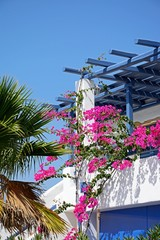 Pretty villa terrace with Bougainvillea, Makrigialos.