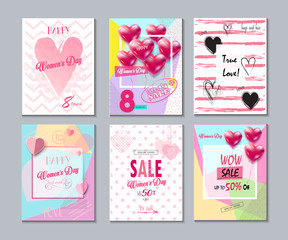 8 March Sale Discount banners set for Happy Women's Day. Spring Holiday Sale, gift card, coupon. Futuristic design. Marketing. Advertising Vector