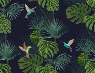 Exotic tropical forest. Hummingbirds. Colibri. Seamless pattern. Vector background.