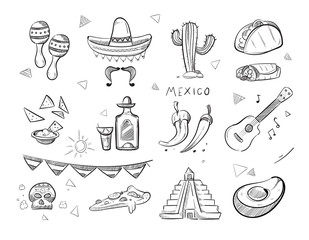 Doodle mexican food, tequila, red hot chili peppers, sombrero, guitar, tacos hand drawn vector icons
