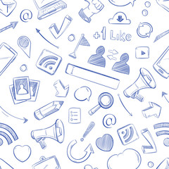 Doodle social media, movie, music, news, video, online marketing, sms vector seamless backdrop