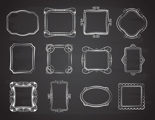 Vector doodle portrait photo frames, sketch antique box on chalkboard