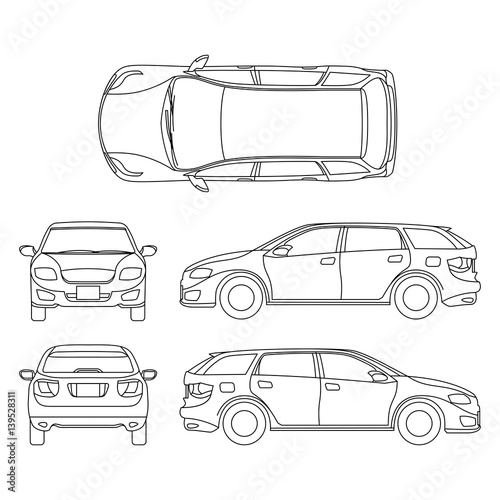 u0026quot line drawing of car white vehicle  vector computer art u0026quot  stock image and royalty