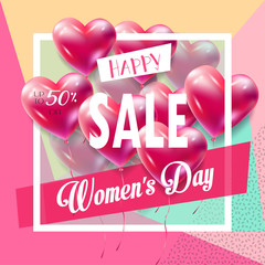 8 March. Sale Discount banner for Happy Women's Day. Spring Holiday Sale, gift card, coupon. Lettering, heart balloon, modern design. Marketing. Advertising. Vector Trendy