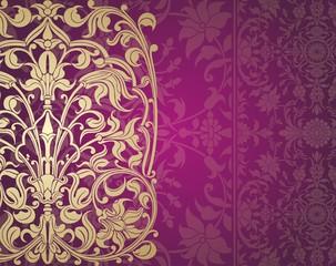 wedding card design, paisley floral pattern , royal India