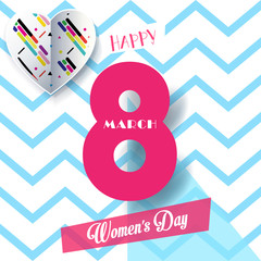 8 March Happy Women's Day. Eighth March Greeting card. 8 March International women's day. Spring Holiday. Futuristic design stylish background