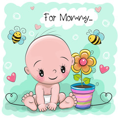 Greeting card Baby with flower