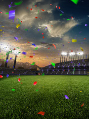 stadium sunset Confetti and tinsel with people fans. 3d render illustration cloudy sky