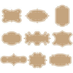 Set of blank vintage frames. Gift tags. Paper labels. Flat design. isolated vectors.