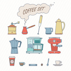 Set Of Coffee Elements and Coffee Accessories. Retro Style Vector Illustration