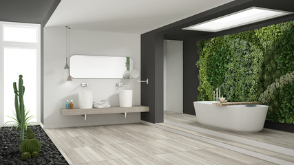 Minimalist White And Gray Bathroom With Vertical And Succulent Garden,  Wooden Floor And Pebbles,