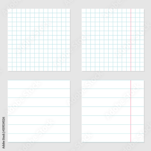 notebook paper texture cell lined template with red pink line set