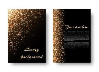 Glimmer background with flare light. Glitter sparkle on a black backdrop.