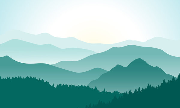Mountains landscape with beautiful summer sunrise. Vector illustration.