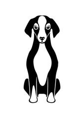座る犬 モノクロ 線画
