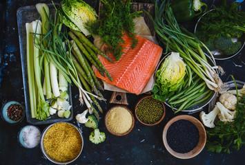 Raw fish and veggies.