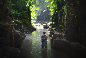 Journey and travel destination at waterfall Kanto Lampo, Bali,Indonesia