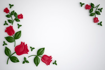 Red paper roses on white background, greeting card, 3d  illustration